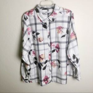 Croft & Barrow Floral Plaid Button Down Shirt XXL